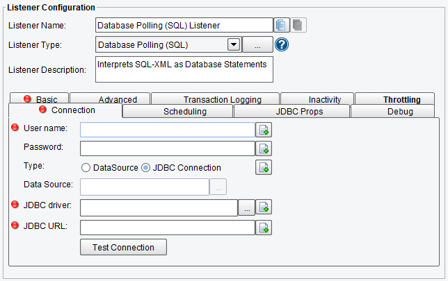 SQL Polling Listener Connection Configuration Options in PilotFish Software