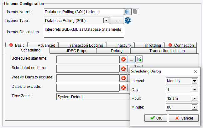 SQL Polling Scheduling Options in PilotFish